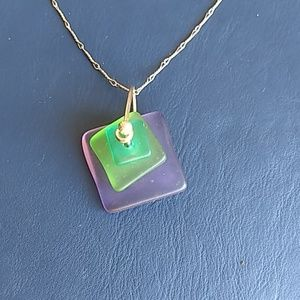 Jewelry - Beautiful Art Glass Necklace Sterling Silver Chain